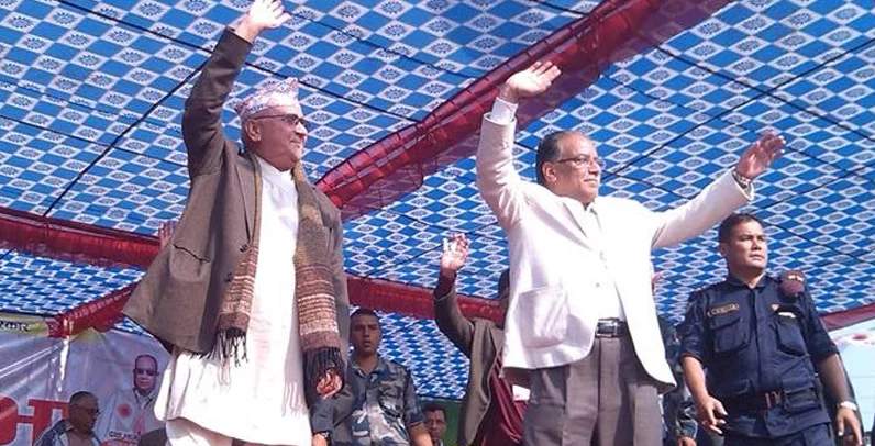 Prachanda and KP Oli in Chitwan